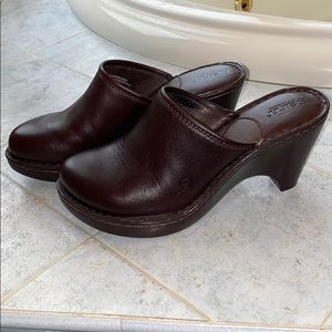 BORN Leather Wedge Clog *Brand New*